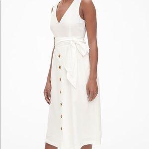 NWT Gap Sleeveless Button-Front Midi Linen Dress